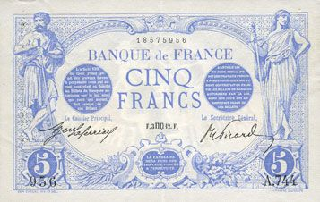Banknotes Banque de France. Billet. 5 francs bleu, 3 août 1912
