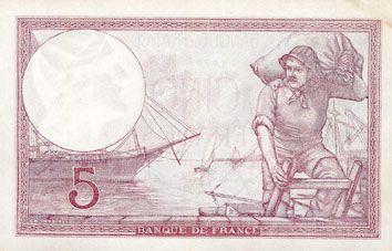 Banknotes Banque de France. Billet. 5 francs violet, 13.7.1939, modifié