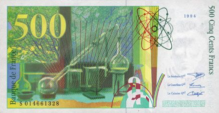 Banknotes Banque de France. Billet. 500 francs (Pierre et Marie Curie), 1994