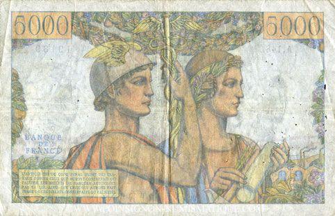Banknotes Banque de France. Billet. 5000 francs, Terre et Mer, 1.3.1956