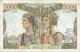 Banknotes Banque de France. Billet. 5000 francs, Terre et Mer, 16.8.1951
