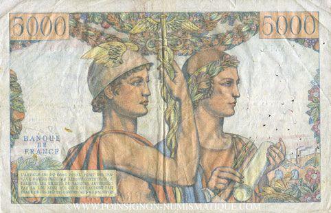 Banknotes Banque de France. Billet. 5000 francs, Terre et Mer, 2.1.1953