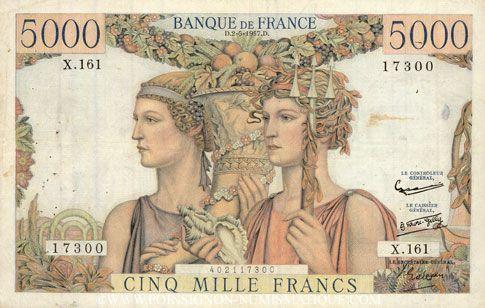 Banknotes Banque de France. Billet. 5000 francs, Terre et Mer, 2.5.1957