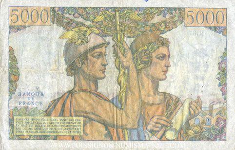 Banknotes Banque de France. Billet. 5000 francs, Terre et Mer, 3.11.1949