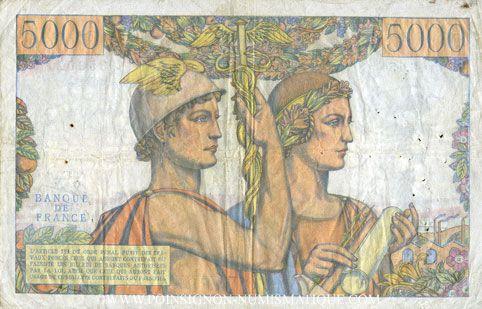 Banknotes Banque de France. Billet. 5000 francs, Terre et Mer, 6.12.1956
