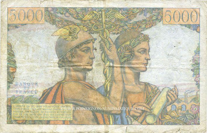 Banknotes Banque de France. Billet. 5000 francs, Terre et Mer, 7.2.1952