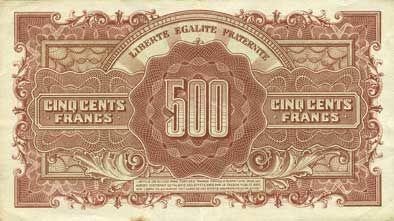 Banknotes Billet. 500 francs Marianne, impression anglaise - 1945, série L