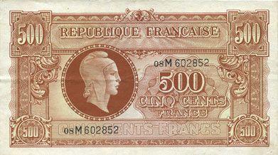 Banknotes Billet. 500 francs Marianne, impression anglaise - 1945