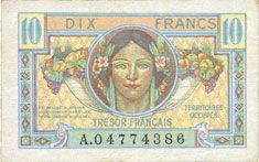 Banknotes Territoires occupés. Billet. 10 francs, Trésor français, type 1947