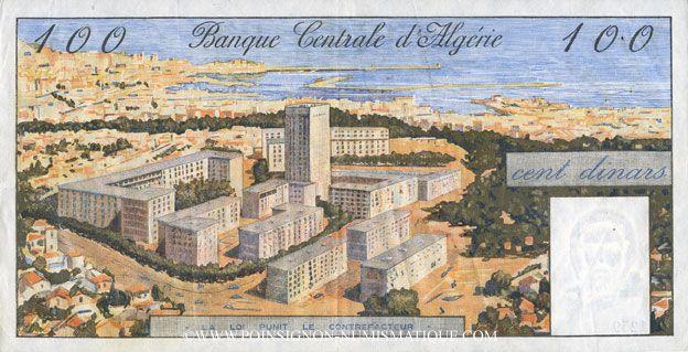 Banknotes Algérie. Banque Centrale. Billet. 100 dinars 1.1.1964