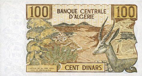Banknotes Algérie. Banque Centrale. Billet. 100 dinars 1.11.1970