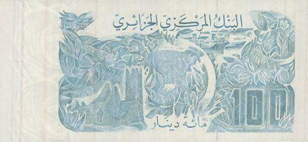 Banknotes Algérie. Banque Centrale. Billet. 100 dinars 8.6.1982