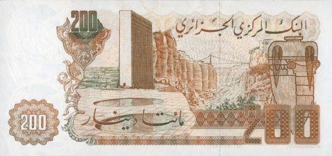 Banknotes Algérie. Banque Centrale. Billet. 200 dinars 23.3.1983