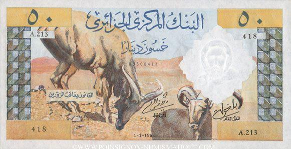 Banknotes Algérie. Banque Centrale. Billet. 50 dinars 1.1.1964