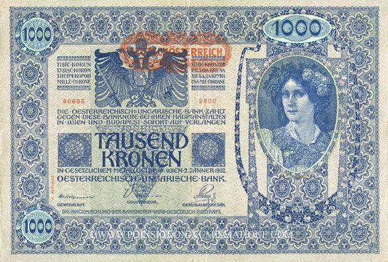 Banknotes Autriche. Banque Austro-Hongroise 1000 couronnes (1919) surchargé / billet du 2.1.1902, 2e émission
