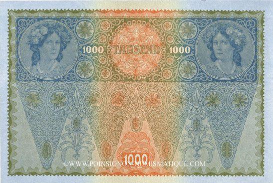 Banknotes Autriche. Banque Austro-Hongroise. Billet. 1 000 couronnes (1919) surchargé sur billet du 2.1.1902