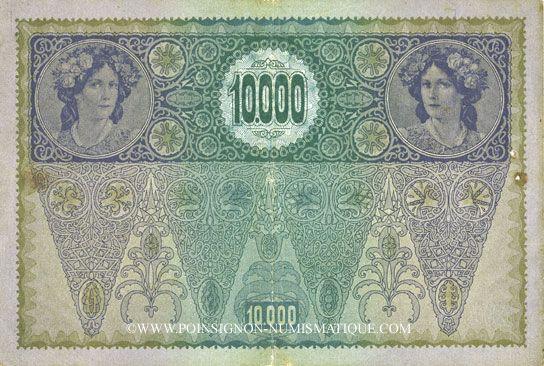Banknotes Autriche. Banque Austro-Hongroise. Billet. 10 000 couronnes (1919) surchargé sur billet du 2.11.1918