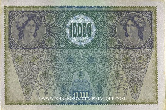 Banknotes Autriche. Billet. 10 000 couronnes (1919) surchargé sur billet du 2.11.1918