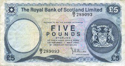 Banknotes Ecosse. Banque Royale d'Ecosse. Billet. 5 livres 1.5.1981