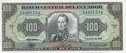 Banknotes Equateur. Banque Centrale. Billet. 100 sucres 8.6.1988