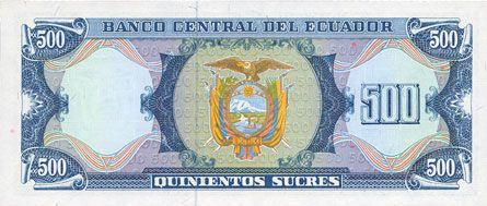 Banknotes Equateur. Banque Centrale. Billet. 500 sucres 1988