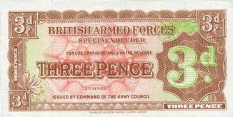 Banknotes Grande Bretagne. Armée britannique. Billet. 3 pence (1948)