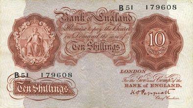Banknotes Grande Bretagne. Billet. 10 shillings (1934-39)