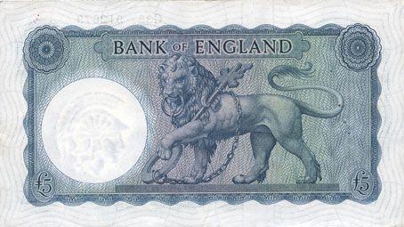 Banknotes Grande Bretagne. Billet. 5 livres (1957-67)