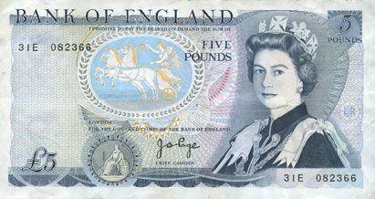 Banknotes Grande Bretagne. Billet. 5 livres (1973-80)