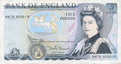Banknotes Grande Bretagne. Billet. 5 livres (1980-1987)
