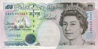 Banknotes Grande Bretagne. Billet. 5 livres (1991-1998)