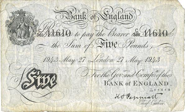 Banknotes Grande Bretagne. Billet. 5 livres, 27 mai 1943. Londres