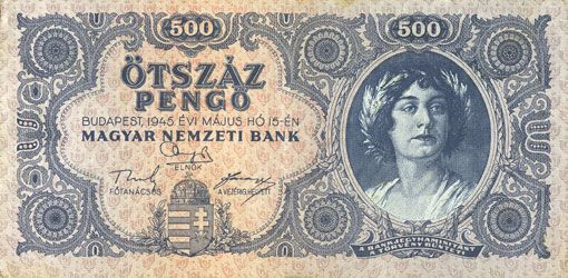 Banknotes Hongrie. Billet. 500 pengo 15.5.1945, avec erreur d'écriture au revers