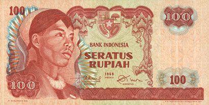 Banknotes Indonésie. Billet. 100 roupies 1968