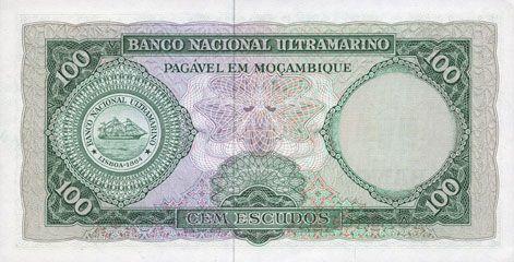 Banknotes Mozambique. Billet. 100 escudos 23.7.1961. Surchargé en 1976