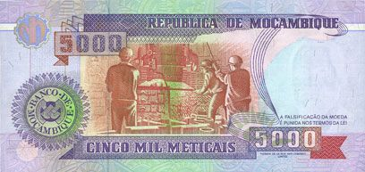 Banknotes Mozambique. République. Billet. 5 000 meticais 16.6.1991