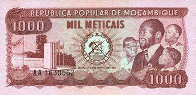 Banknotes Mozambique. République Populaire. Billet. 1 000 meticais 16.6.1980