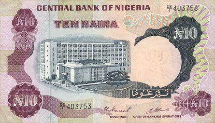 Banknotes Nigéria. Banque Centrale. Billet. 10 naira (1973-1978)