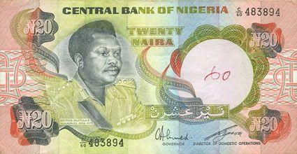 Banknotes Nigéria. Banque Centrale. Billet. 20 naira (1977)