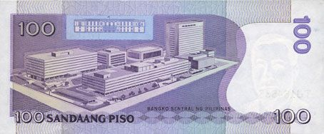 Banknotes Philippines. Banque Centrale. Billet. 100 pesos (1987-1994)