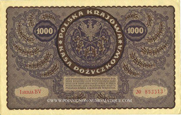 Banknotes Pologne. Billet. 1 000 marek 23.8.1919