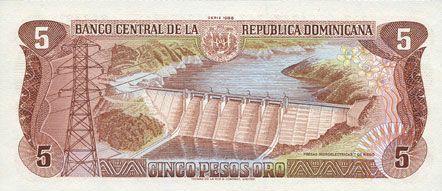 Banknotes République Dominicaine. Banque Centrale. Billet. 5 pesos 1988
