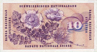 Banknotes Suisse. Billet. 10 francs 25.8.1955