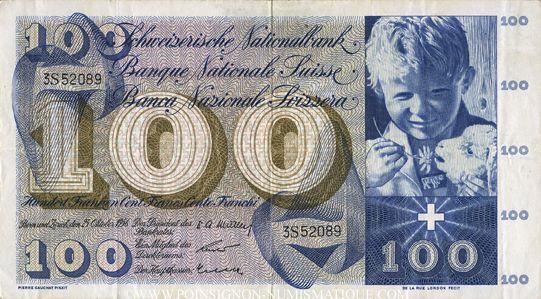 Banknotes Suisse. Billet. 100 francs 25.10.1956
