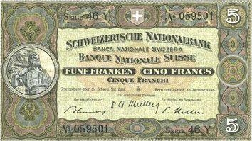 Banknotes Suisse. Billet. 5 francs 20.1.1949