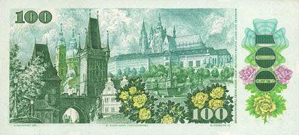 Banknotes Tchécoslovaquie. Billet. 100 couronnes 1989