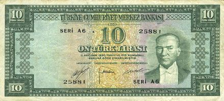 Banknotes Turquie. Billet. 10 lires (1952), série A