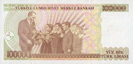 Banknotes Turquie. Billet. 100 000 lires 1970 (1997)