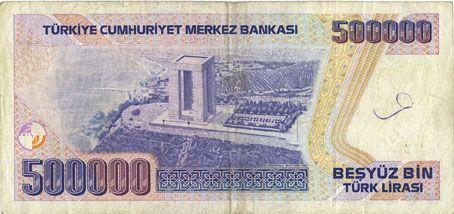 Banknotes Turquie. Billet. 500 000 lires 1970 (1993)