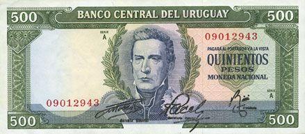 Banknotes Uruguay. Banque Centrale. Billet. 500 pesos (1967)